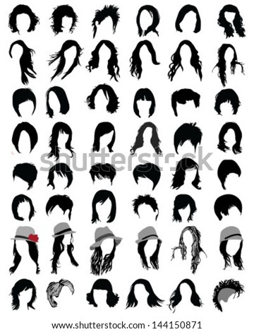 Silhouettes of hair styling-vector illustration - stock vector