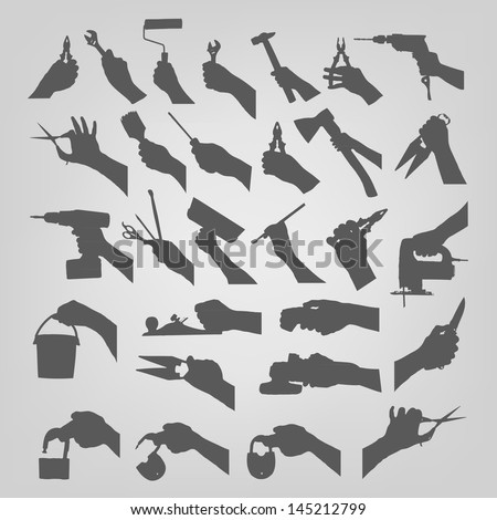 Silhouettes of hands - stock vector