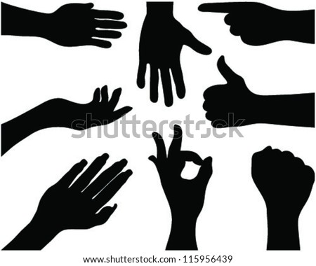 Silhouettes of hands 3. vector - stock vector
