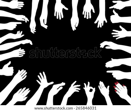 Silhouettes of hands, vector - stock vector