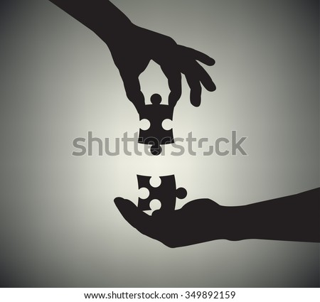 Silhouettes of hands with puzzle. Vector Illustration - stock vector