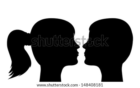 silhouettes of heads, men and women