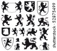 Silhouettes of heraldic lions - stock photo