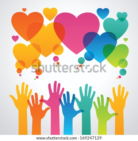 silhouettes of human hands are drawn to the icons of hearts. the concept of love between people .the concept of communication between people  The file is saved in the version AI10 EPS. - stock vector