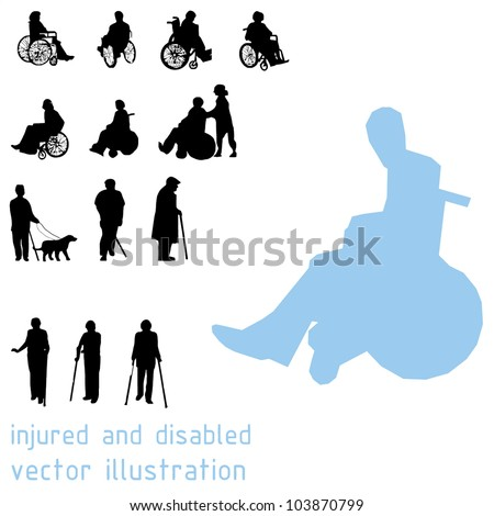Silhouettes of impaired people. - stock vector