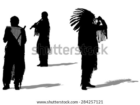 Silhouettes of Indian musical instruments on a white background - stock vector