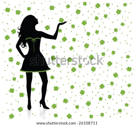 Silhouettes of irish woman standing under clover rain.