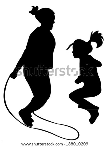 Silhouettes of jumping rope-vector  - stock vector