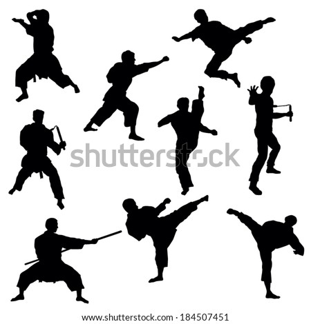 Silhouettes of Karate-Vector Image - stock vector