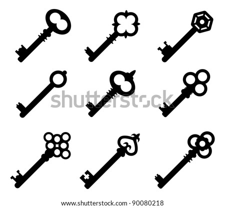 Silhouettes of keys - stock vector