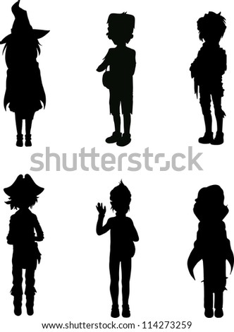 Silhouettes of kids in scary halloween suits - stock vector