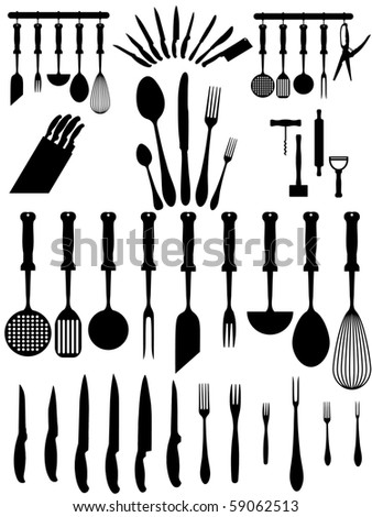 silhouettes of kitchen accessories, cutlery, various types of knives ... - stock vector