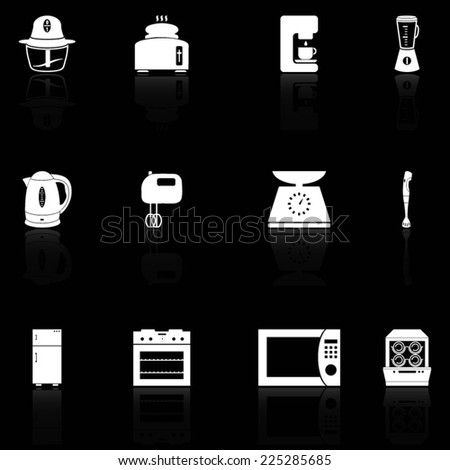 Silhouettes of kitchen appliances