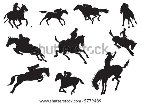 Silhouettes of knights and horse-vector - stock vector
