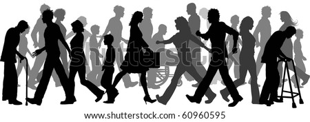 Silhouettes of lots of people walking - stock vector
