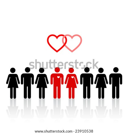 Silhouettes of lovers pair in crowd of people - stock vector