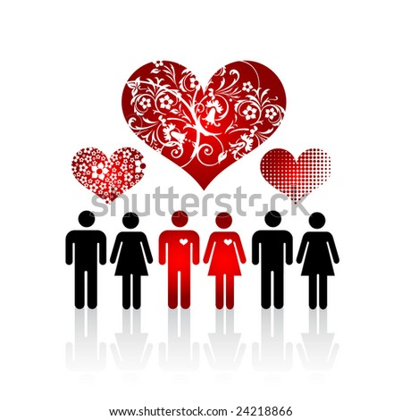 Silhouettes of lovers pair in crowd of people and floral hearts - stock vector