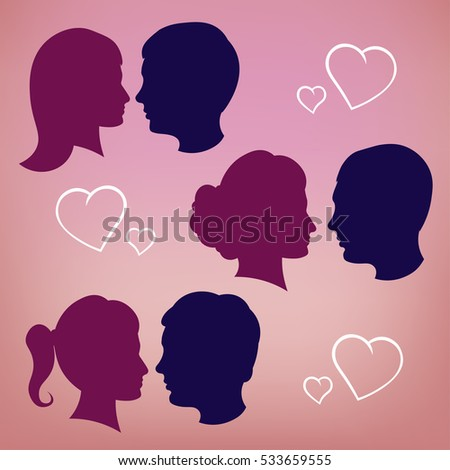 Silhouettes of lovers. Pink girl and boy