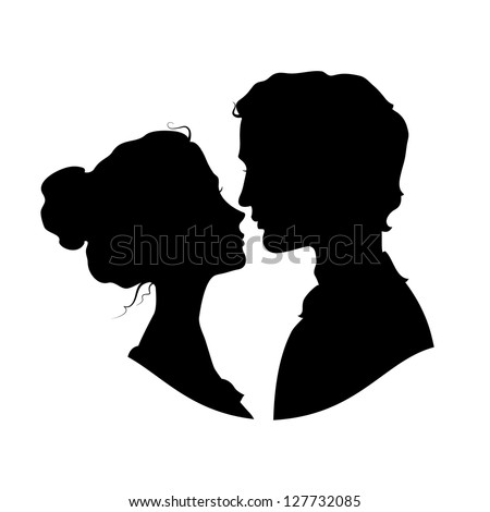 Silhouettes of loving couple. Black against white background - stock vector