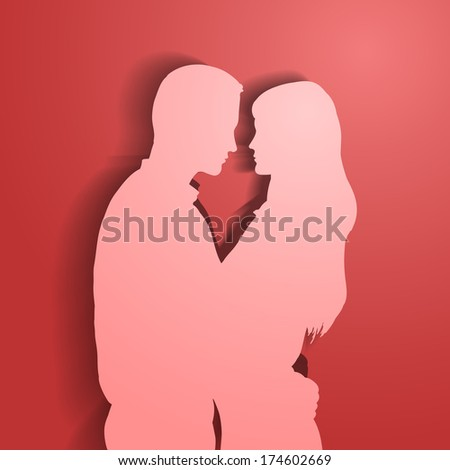 Silhouettes of loving couple. EPS10 vector. - stock vector