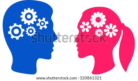 silhouettes of man and woman head with gears isolated