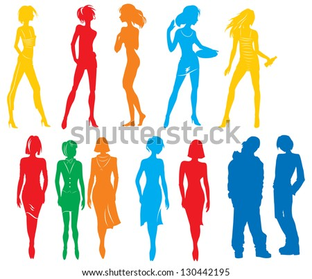 Silhouettes of many people. Vector picture with color silhouettes  of many people white isolated background - stock vector