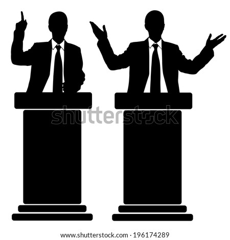 silhouettes of men speaking from tribune - stock vector