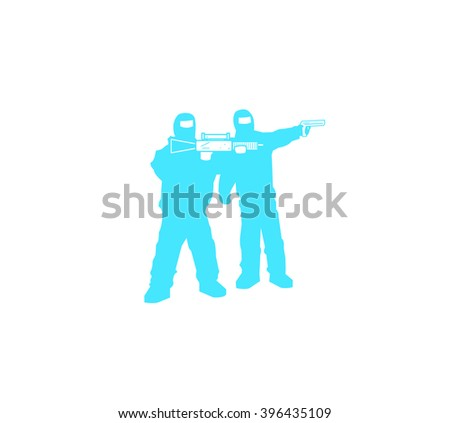 Silhouettes of men with a assault rifle and a pistol - stock vector