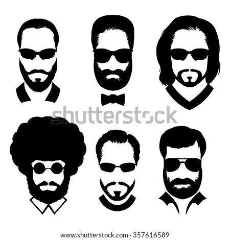 Silhouettes of men with beard and glasses. Stylish avatars men without faces. - stock vector