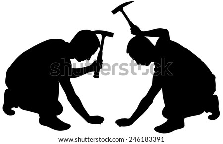 silhouettes of men with hammers