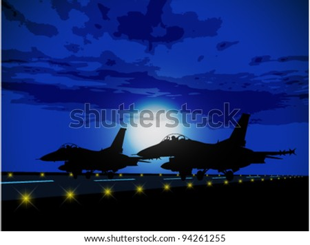 Silhouettes of military planes against the moon - stock vector