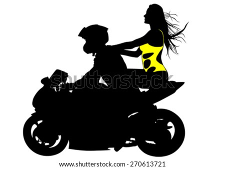Silhouettes of motorcycle and beauty women - stock vector