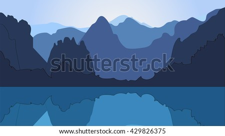 Silhouettes of mountain peaks. Vector illustration.