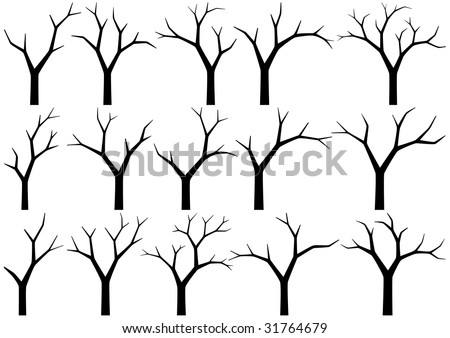 silhouettes of naked trees on white background - stock vector