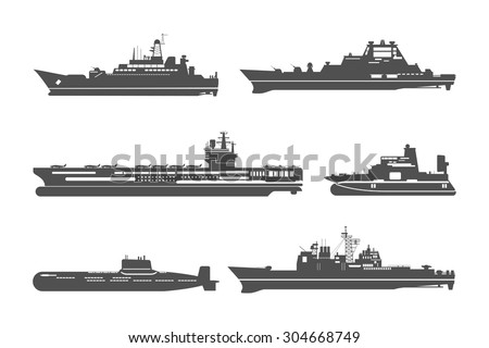 Silhouettes of naval ships. Marine navy transport, transportation and military shipping. Vector illustration - stock vector