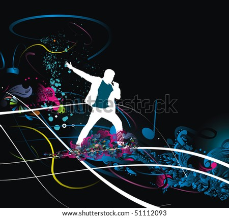 Silhouettes of  of Rock man and sings into the mic wave line, vector illustration - stock vector