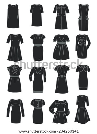 Silhouettes of office dresses isolated on white background - stock vector