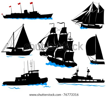 Silhouettes of offshore ships - yacht, fishing boat, the warship. - stock vector