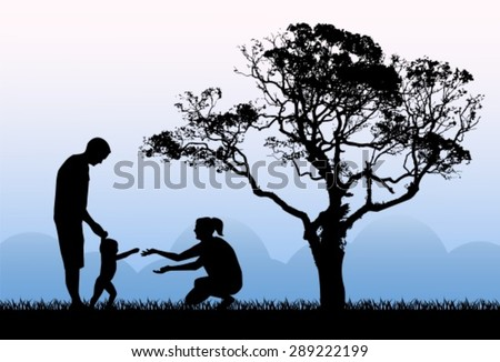 silhouettes of parents with a child playing on the background of the dawn in the morning and a large tree  - stock vector