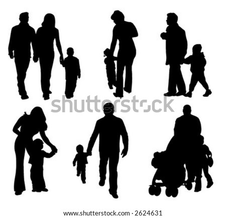 Silhouettes of parents with children (vector illustration)