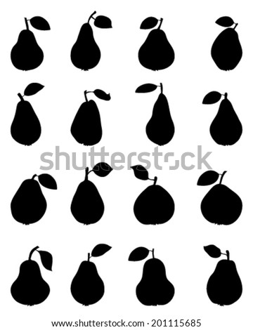 Silhouettes of pears, vector - stock vector