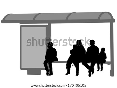 Silhouettes of people at bus stop - stock vector