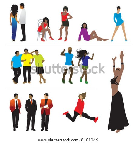 Silhouettes of people: business, sport, fashion, love - stock vector
