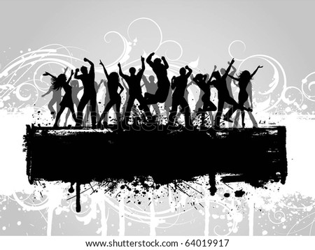 Silhouettes of people dancing on a floral grunge background - stock vector