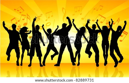 Silhouettes of people dancing on a music notes background - stock vector