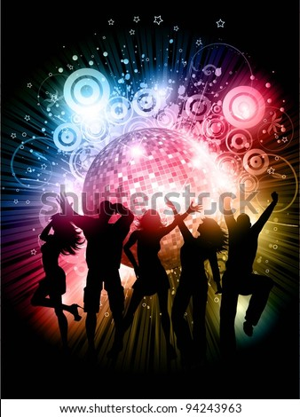 Silhouettes of people dancing on abstract mirror ball background - stock vector