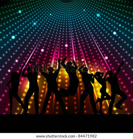 Silhouettes of people dancing on disco lights background - stock vector
