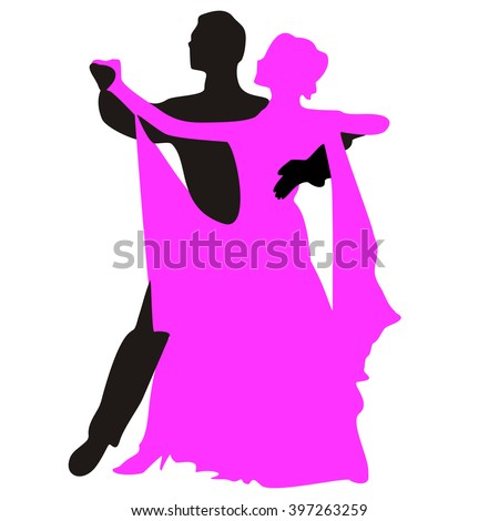 Silhouettes of people dancing the waltz. Vector illustration. - stock vector