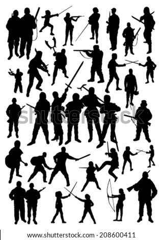 Silhouettes of People Fighting - stock vector