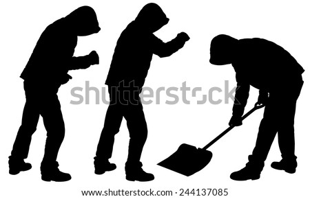 silhouettes of people in blizzard and shoveling snow - stock vector